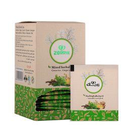 دمنوش گیاهی مخلوط چای سبز و زنجبیل زوریک