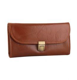 کیف پول زنانه سگک دار قهوه ای روشن